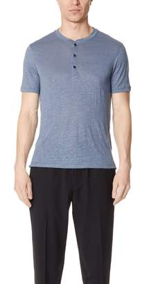 Club Monaco Short Sleeves Linen Henley
