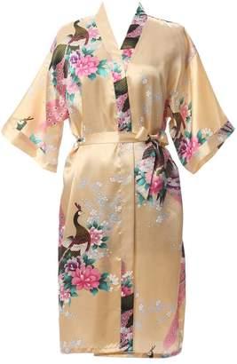 J.ROBE Women's Printing Lotus Kimono Robe Nightwear Short Style Silk Bathrobe M