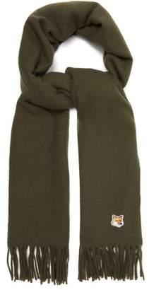 MAISON KITSUNÉ Fox Applique Virgin Wool Scarf - Mens - Green