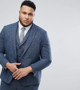 Asos DESIGN PLUS Slim Suit Jacket in 100% Wool Harris Tweed In Blue Mini Check
