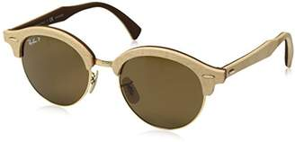 Ray-Ban CLUBROUND WOOD RB4246M - 117957 SUNGLASSES POLARIZED BROWN 51mm