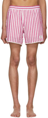 Noah NYC Red and White Stripe Seersucker Running Shorts