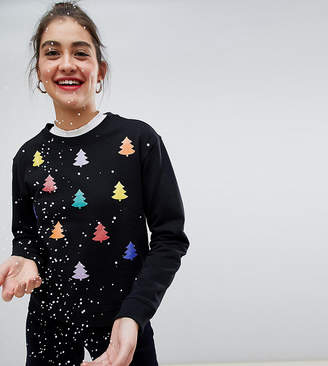 Monki xmas sweater with rainbow xmas trees in black