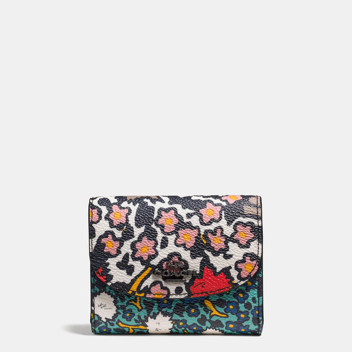 Coach   COACH Coach Double Flap Small Wallet In Mixed Yankee Floral Print Canvas