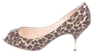 Christian Louboutin Leopard Print Peep-Toe Pumps