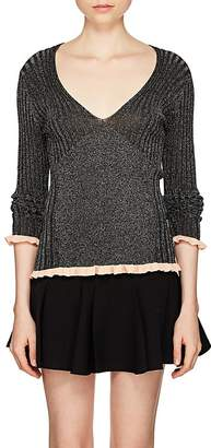 Chloé Women's Ruffled-Cuff Rib-Knit Silk-Blend Top