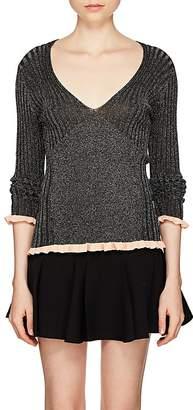 Chloé Women's Ruffled-Cuff Rib-Knit Silk-Blend Top