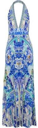 Camilla Crystal-Embellished Pleated Printed Crepe Halterneck Jumpsuit