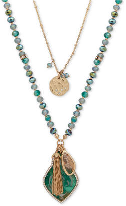 "lonna & lilly Gold-Tone Pave, Bead & Chain Tassel 2-in-1 Pendant Necklace, 30""/34"" + 3"" extender"