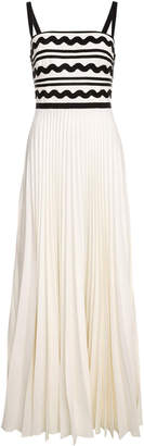 Lilli Jahilo Gudrun Pleated Gown With Zig-Zag Ribbon