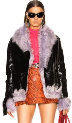 Moto Sandy Liang Bowery Jacket With Lamb Shearling