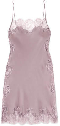 Carine Gilson Chantilly Lace-trimmed Silk-satin Chemise - Lilac