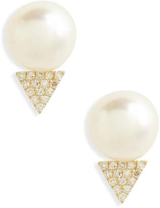 Ef Collection Pearl & Diamond Stud Earrings