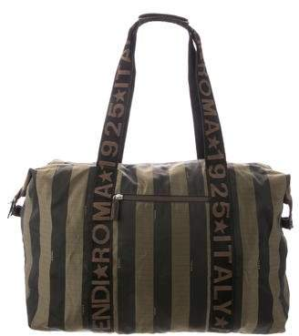 Fendi Striped Nylon Shoulder Bag