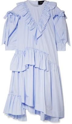 Simone Rocha Asymmetric Ruffled Striped Cotton-poplin Midi Dress - Sky blue