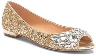 Badgley Mischka Claire Glitter Crystal Peep Toe Flat