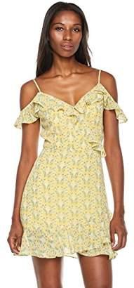 Plumberry Women's Summer Floral Print Spaghetti Strap Ruffles Boho Mini Dress Dusty Pink XS