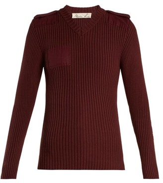 Martine Rose Ribbed Knit Cotton Sweatshirt - Womens - Burgundy