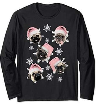 Many Pugs Of Christmas Santa Hat Snowflake Long Sleeve Tee