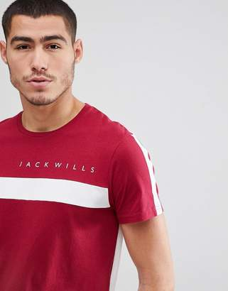Jack Wills Bramshill color block t-shirt in red