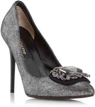 Dune BLACK LADIES BILLIE - Jewel And Chain Detail Pointed Toe Court Shoe