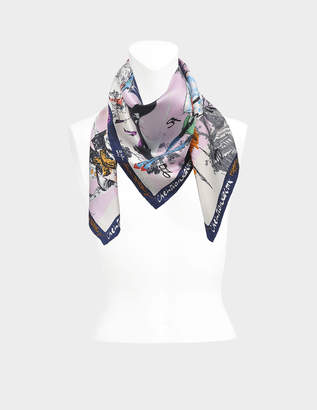 Christian Lacroix 90X90 20 Ans Square Scarf in Pink Twill Silk