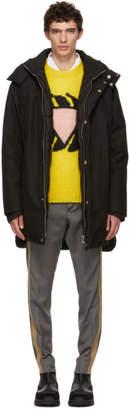Prada Black Down Technical Back Pocket Coat
