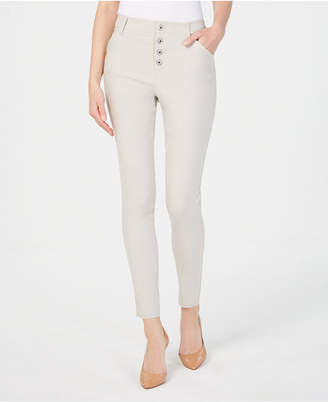 INC International Concepts I.n.c. Curvy Exposed-Button Curvy-Fit Skinny Pants