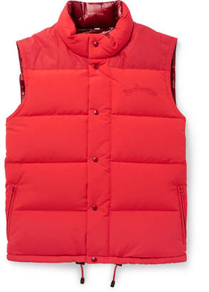 Burberry Slim-Fit Logo-Embroidered Quilted Nylon Down Gilet - Red