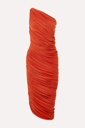 Norma Kamali Diana One-shoulder Ruched Stretch-jersey Dress - Orange