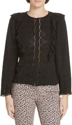 Rebecca Taylor Embroidered Ruffle Blouse