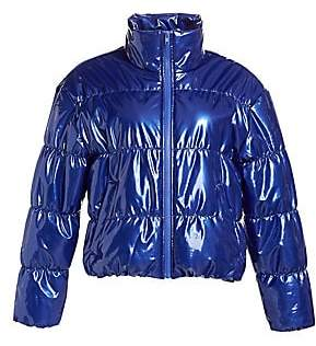 Scripted Women's Faux Patent Leather Puffer Jacket