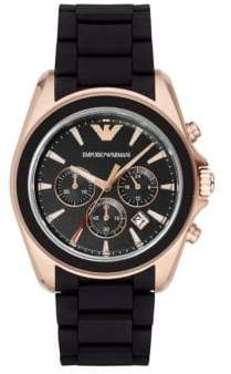 Emporio Armani Rose Goldtone-Finished Stainless Steel Chronograph Rubber Strap Watch