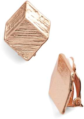 Karine Sultan Brushed Square Clip-On Earrings
