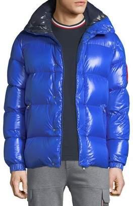 Moncler Men's Genius Dervaux Puffer Coat w/ Tuck-Away Hood