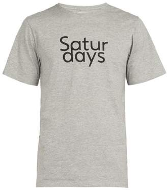 Saturdays NYC Logo Printed Cotton T Shirt - Mens - Grey
