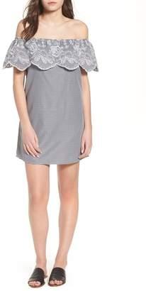 Socialite Gingham Off the Shoulder Dress