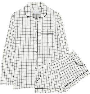 Three J NYC Josephine Checked Cotton-Flannel Pajama Set