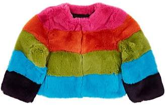 Lisa Perry Kids' Striped Rabbit Fur Jacket