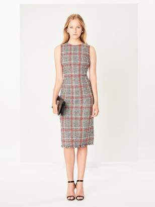 Oscar de la Renta Glen Plaid Slub Tweed Pencil Dress