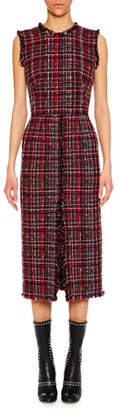 Alexander McQueen Sleeveless Tweed Slit-Front Midi Pencil Dress