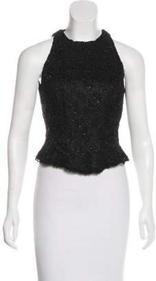Carmen Marc Valvo Sleeveless Embellished Top