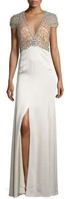 Jenny Packham Sequined-Bodice Deep-V Gown, Illusion/Glass $4,800 thestylecure.com