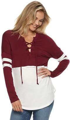 Miss Chievous Juniors' Lace-Up Varsity Striped Colorblock Top