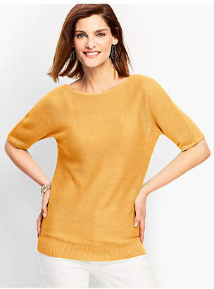 Talbots Linen Back-V-Neck Sweater