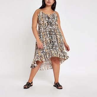 3f92452f6e River Island Womens Plus Black snake print cover up beach dress