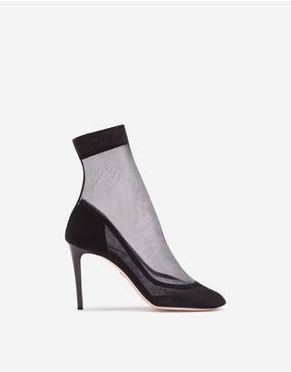 Dolce & Gabbana Ankle Boots In Stretch Tulle And Patent Leather