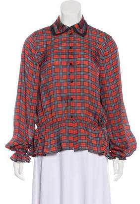 Preen Line Long Sleeve Button-Up Blouse