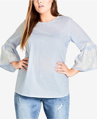 City Chic Trendy Plus Size Bell-Sleeve Top
