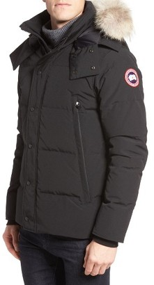 Men's Canada Goose Wyndham Slim Fit Genuine Coyote Fur Trim Down Jacket $895 thestylecure.com